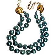 Carolee simulated blue baroque pearl bead necklace two strand