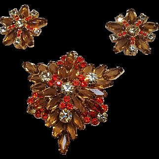 Juliana pin earrings set coffin hexagon stones