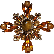 Maltese cross pin pendant givre glass cabochon rhinestone