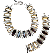 Napier necklace bracelet set  rhinestone amethyst glass