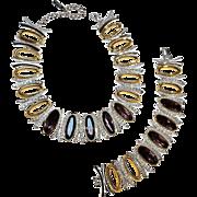 Napier necklace bracelet set  rhinestone amethyst glass
