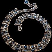 Bogoff rhinestone blue baguette necklace rhodium plate