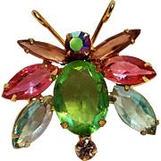 Rhinestone bug pin multi color open back crystals
