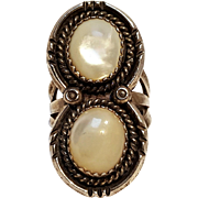 Southwest sterling silver ring mother of pearl stones