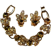 Juliana Lava glass bracelet earrings set citrine yellow