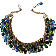 Mesh choker dog collar necklace bezel set crystal drops three rows