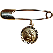 14K Gold guardian angel safety pin Italy