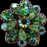 Green dragons' breath glass cabochon rhinestone pin