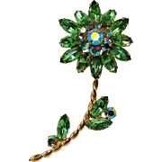 Green rhinestone flower pin