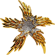 KJL Kenneth Lane star flower rhinestone pin