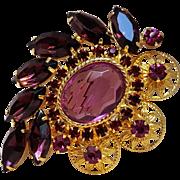 Purple pink fuchsia rhinestone pin metal flower plaques
