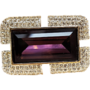 Napier purple glass crystal stone pave rhinestone pin rectangular