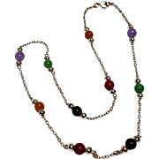 Delicate sterling silver multi gemstone bead necklace