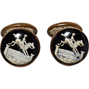 Glass intaglio horse jockey cufflinks