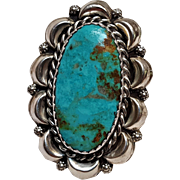 N Lee Native American sterling silver turquoise statement ring