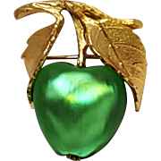 Napier green glass apple pin