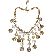 Kate Spade bib necklace rhinestone studded plastic beads, simulated pearls