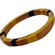 Bakelite wood inlay bangle bracelet