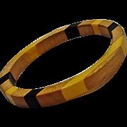 Bakelite wood inlay bangle bracelet