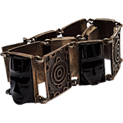 900 Silver bracelet black tribal masks