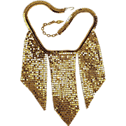 Whiting Davis mesh bib necklace with slits