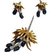 Marcel Boucher rhinestone crystal corsage pin earrings set 7918P