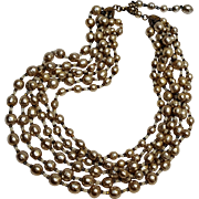 Miriam Haskell six strand simulated baroque pearl necklace