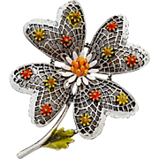 Art cold painted enamel flower pin