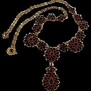 Antique Bohemian garnet necklace flower clusters and center drop