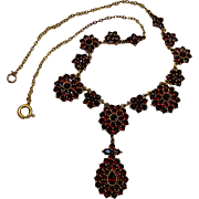Antique Bohemian garnet necklace flower clusters and center drop