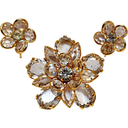 Bezel set crystal  flower pin and earrings set