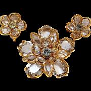 Bezel set crystal  flower pin and earrings set