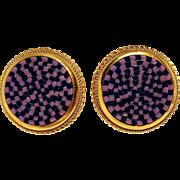 Mosaic clip earrings Italy purple