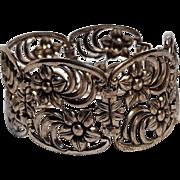 WRE Richards sterling silver bracelet flowers scrolls