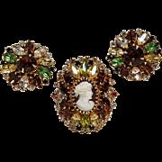 Hobe rhinestone cameo pin clip earrings set