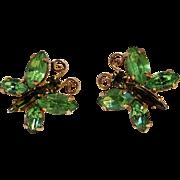 Rhinestone butterfly clip earrings green