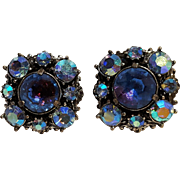 Florenza rhinestone clip earrings blue purple