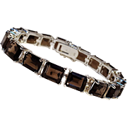 Sterling silver smoky quartz tennis  bracelet
