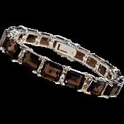 Sterling silver smoky quartz tennis  bracelet