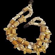 Gerda Lynggaard Monies necklace 2 strand lucite bone wood bead
