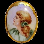 Painted porcelain portrait pin goldie locks