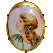Painted porcelain portrait pin goldie locks