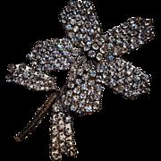 Victorian rhinestone metal flower applique