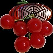 Bakelite cherry log pin red