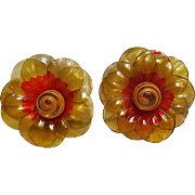 Cellulose acetate flower clip earrings Japan