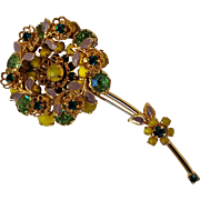 Flower pin rhinestone enamel glass cabochon yellow green