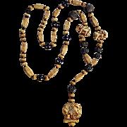 Neiger Art Deco elephant Czech  glass bead necklace