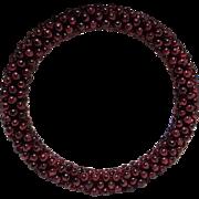 Garnet bead bangle bracelet