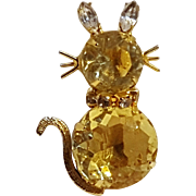 Cat pin citrine yellow glass crystal rhinestone
