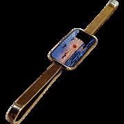 Aksel Holmsen 830 Silver guilloche enamel tie bar clip